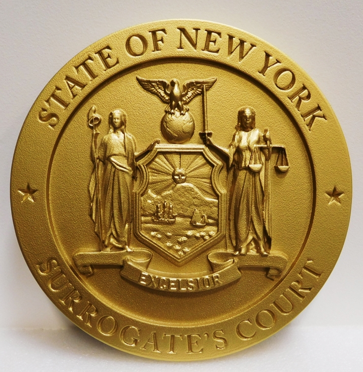BP-1375- Carved State Seal of New York, 3-D Painted with Metallic Brass