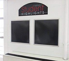 Student artwork holder display frames, metal flip open frames, custom signs, school signs