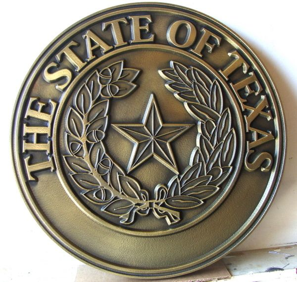 M7139 - Brass Wall Plaque of the Great Seal of Texas