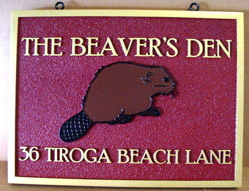 "M22917 - Carved Lake Cottage Address Sign, ""The Beaver's Den"", with Beaver"