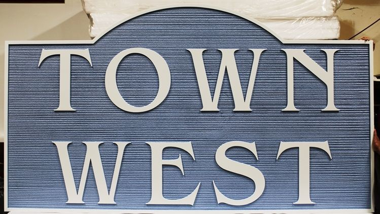 "K20390 - Carved and Sandblasted Wood Grain High-Density-Urethane (HDU)  Entrance Sign for the ""Town West"" Apartments"