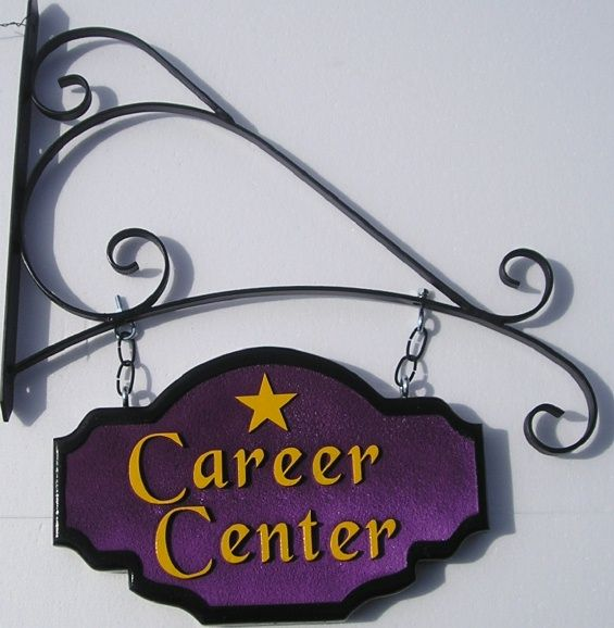 SA28676 - Carved and Sandblasted Career Center Sign with Star Logo Hung from Scroll Bracket