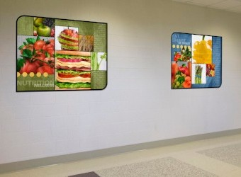 2 large food art murals in school hallway, large custom signs for school