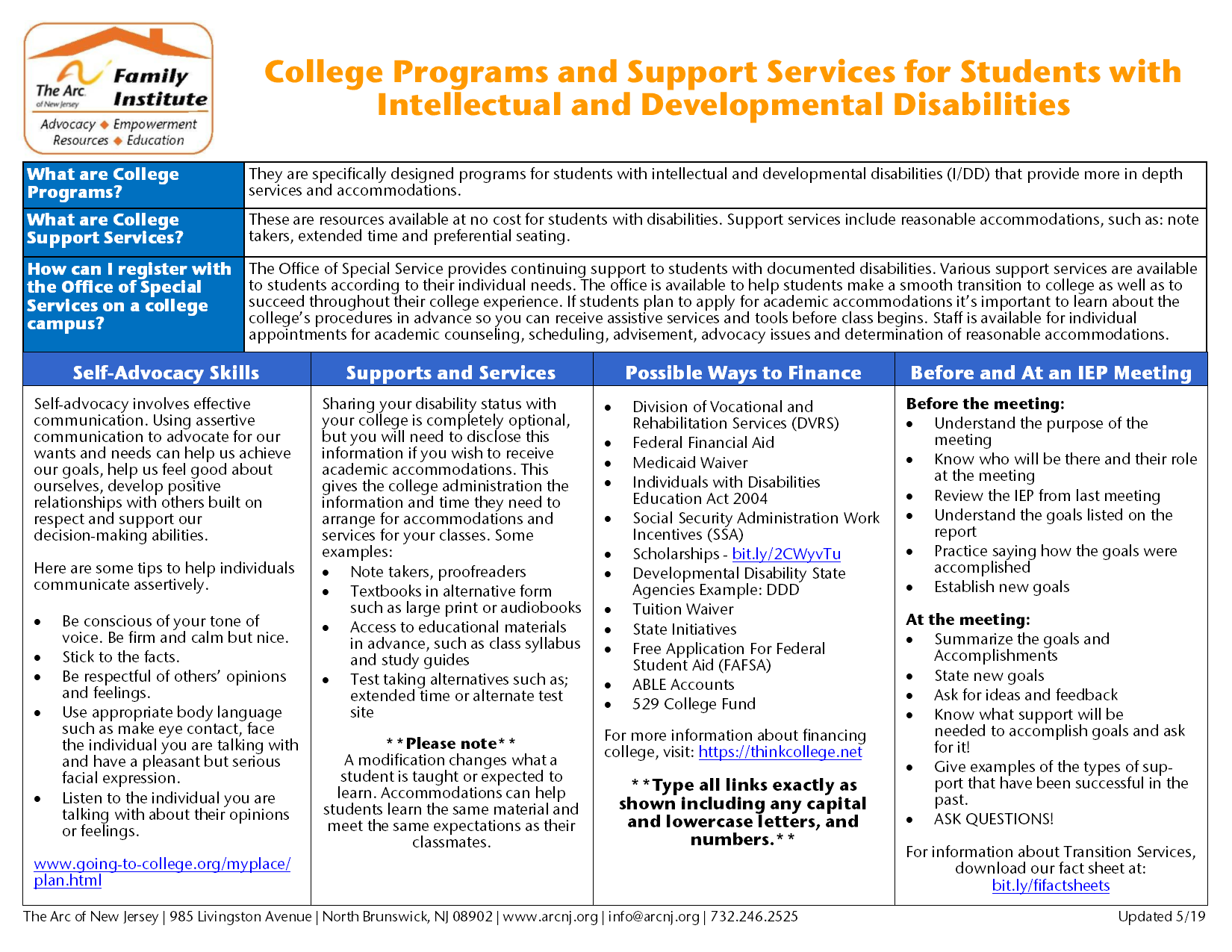 College Programs and Support Services for Students with  Intellectual and Developmental Disabilities