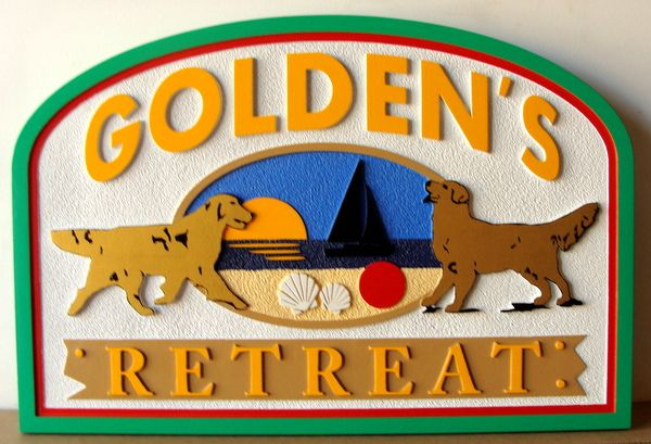 "L21091 - Carved and Sandblasted HDU Beach House ""Golden's Retreat"" Sign, with Two Golden Retreivers"