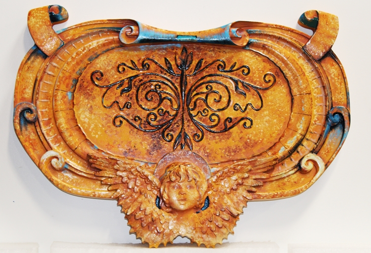 XP-1312 - Carved HDU Antiqued Plaque Featuring a Cherub and Ornate  Scrolls, 3-D Artist-Painted