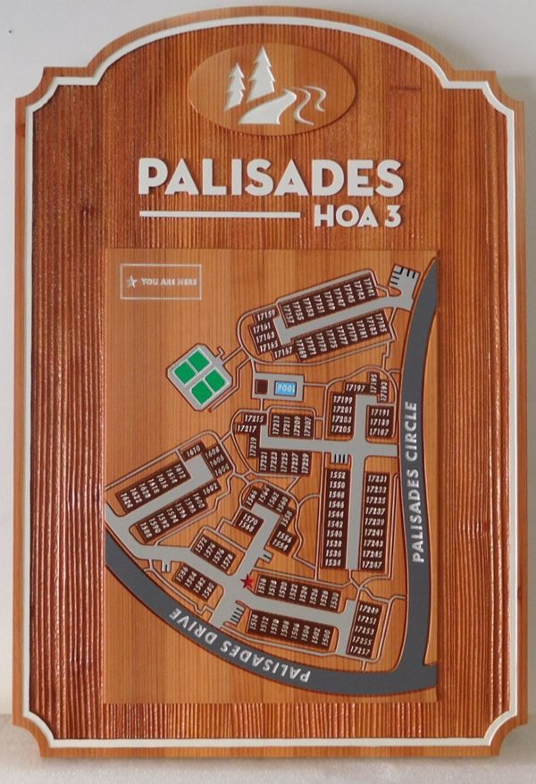 KA20801 - Carved 2.5-D Redwood Property Map with Buildings and Streets for Palisades HOA