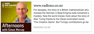 "Andrew Hodges, author of ""Alan Turing: The Enigma"" interview with Radio New Zealand National."