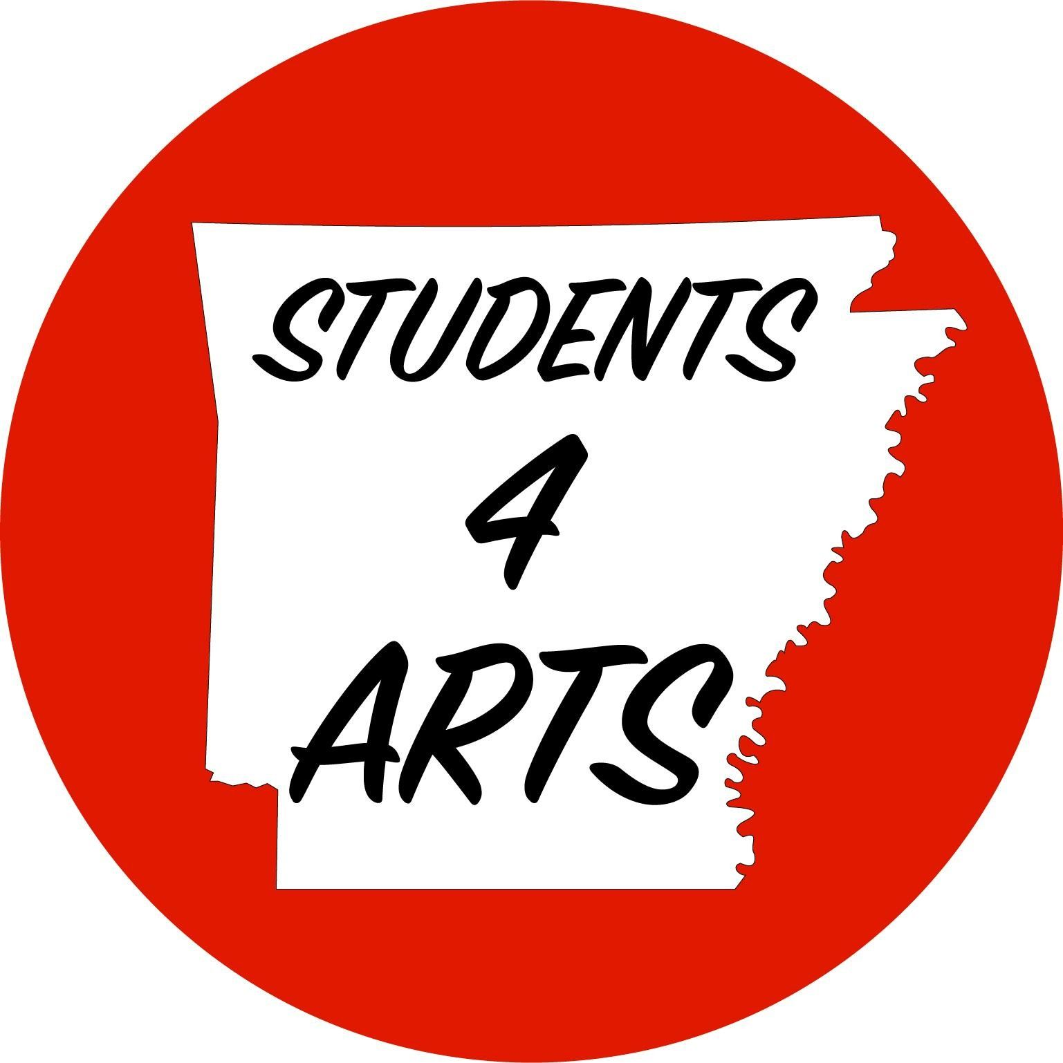 "Students for the Arts Logo: A red circle with a white silhouette of the state of Arkansas in the center. Text reads: ""Students 4 Arts"""