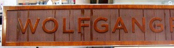 "Q25019 - Carved Wood Sign for a ""Wolfgang Puck"" Restaurant"