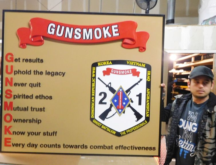 """V31432 - Carved 2.5-D Carved Wall Board for  """"Gunsmoke"""",  of the 1st Marine Division of the United States Marine Corps (USMC)."""