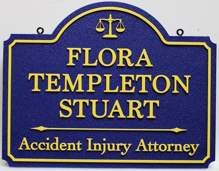 A10516 - Carved and SandblastedSign for Flora Templeton Stuart, Accident Injury Attorney