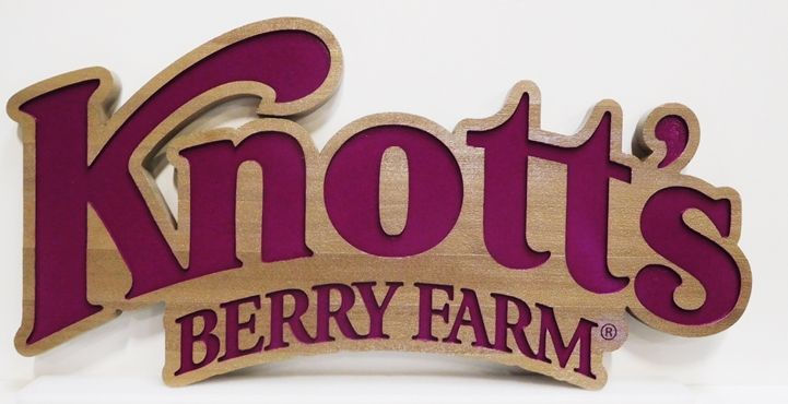 GA16497 - Large Engraved Western Red Cedar Entrance Sign  for Knott's Berry Farm Amusement Park in California