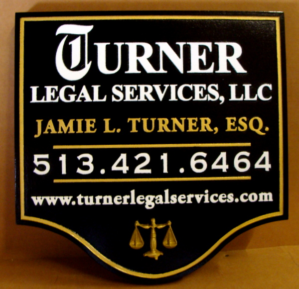A10128A - Carved 3-D Legal Services Sign, Black , Gold & White