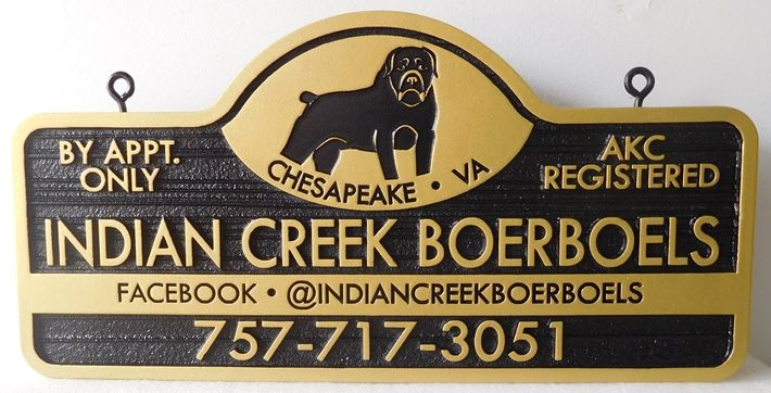 """SA28675 - Carved and Sandblasted Sign for """"Indian Creek Boerboels"""" Dog Breeding Company"""