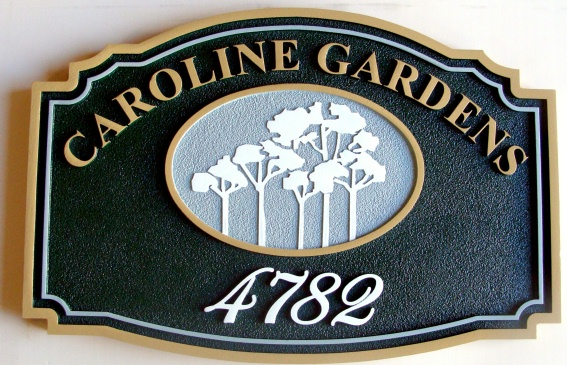 K20368 - Carved HDU Sign (Wood Avail.) for Caroline Gardens Apartments with Carved Silhouette of Trees
