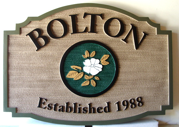 I18226 - Carved and Sandblasted Property Name Sign, with Dogwood Blossom