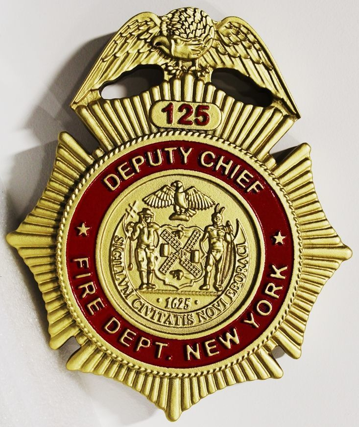 X33855 - Carved 3-D HDU Plaque of the badge for the Deputy Chief of the New York City Fire Department