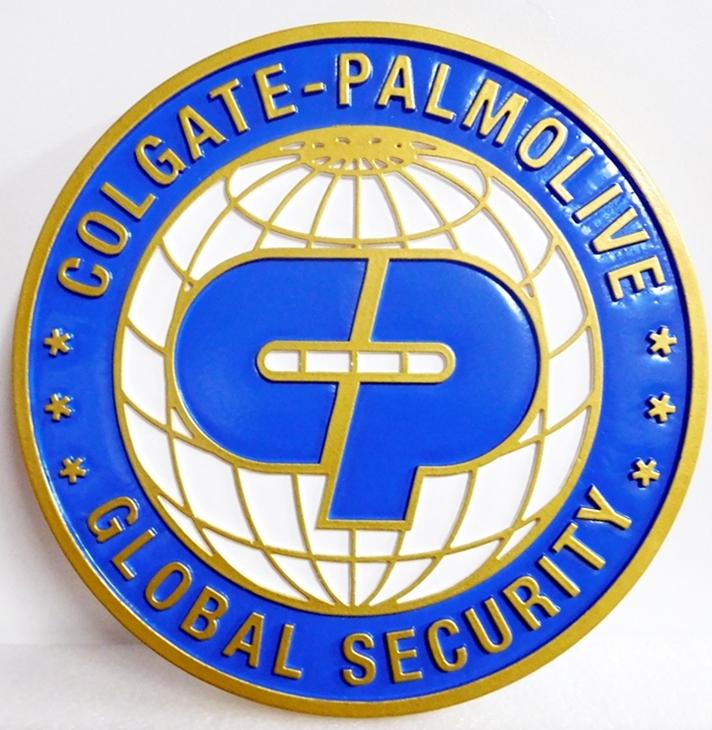 "SA28727 - Carved Round High-Density-Urethane (HDU) Sign for 'Colgate-Palmolive Global Security """