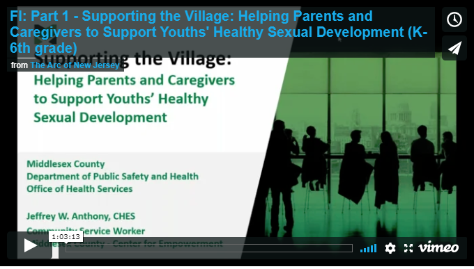Part 1 - Supporting the Village: Helping Parents and Caregivers to Support Youths' Healthy Sexual Development (Kindergarten - 6th grade)