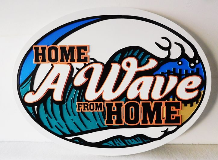"""L21712 - Carved Sign for """"Home A Wave from Home""""  Beach House , with Stylized Surf as Artwork"""