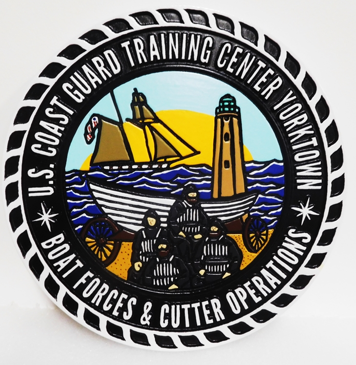 NP-2257 - US Coast Guard Training Center, Boat Forces and Cutter Operations,  in Yorktown, 2.5-D outline Relief, Artist-Painted