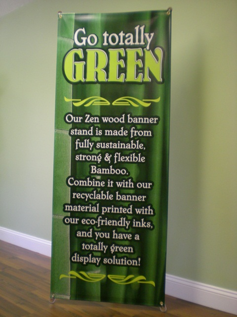 Green Banners on Bamboo Banner Stand