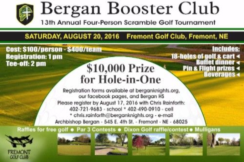 Bergan Booster Club 13th Annual Four Person Scramble Golf Tournament