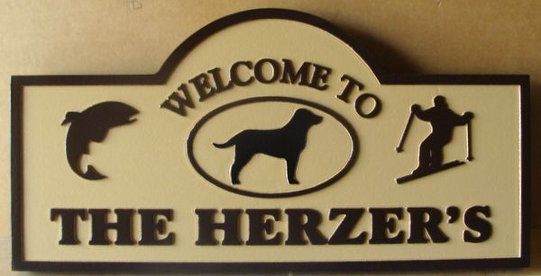 M22248 - Welcome Sign for Mountain Vacation Home, with Skier, Dog and Fish