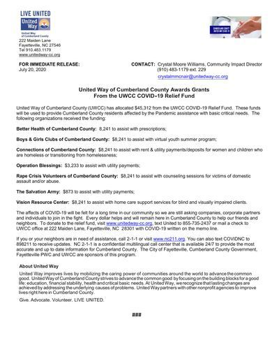 UNITED WAY OF CUMBERLAND COUNTY AWARDS GRANTS FROM THE UWCC COVID-19 RELIEF FUND