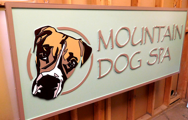 "M22929 - Large Carved Cedar Business ""Mountain Dog Spa""  Sign"
