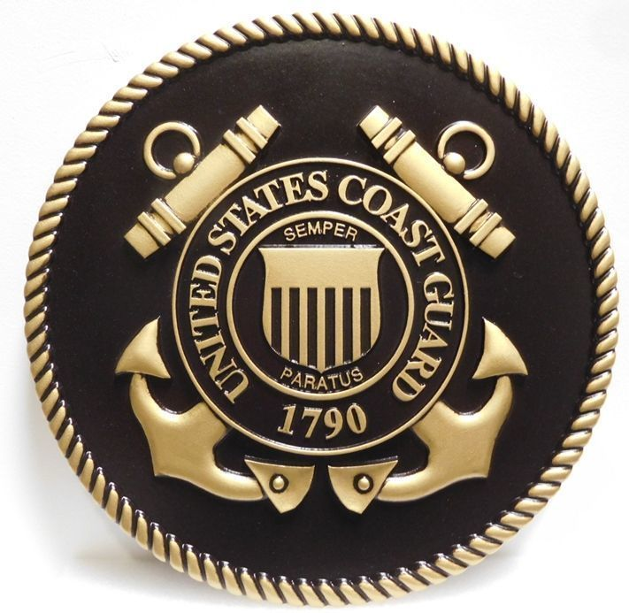 V31905 - Carved 3-D HDU Plaque of the Great Seal of the US Coast Guard