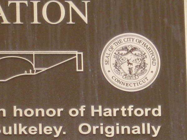 Cast Bronze Plaque, Large 3 ft x 5 ft, Detail of City of Hartford Seal and Bulkeley Bridge, Riverfront Park North Walk Project