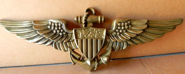JP-1700 - Carved  Plaque of Navy Aviator Badge, Brass Plated