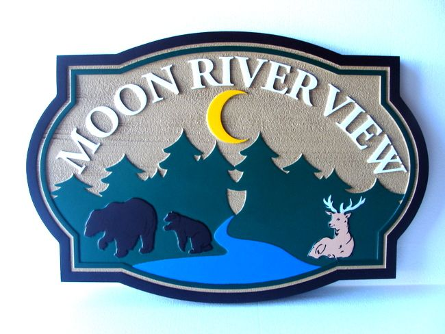"M22382 - Carved, Sandstone Look HDU Sign for ""Moon River View"" with River, Evergreen Forest, Bears, Deer and Moon"