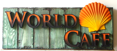Q25126 - Restaurant Sign for World Cafe with Carved Seashell Mounted on Rustic Wood Fence