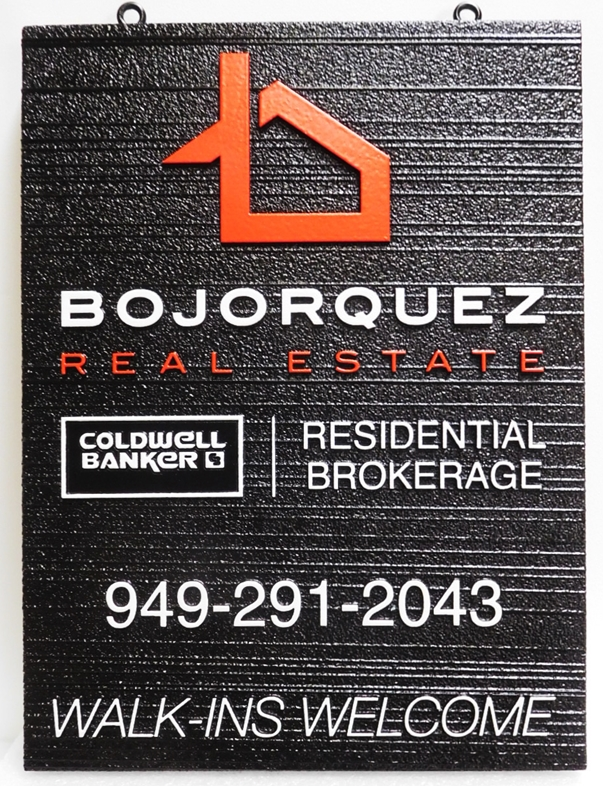 C12329 - Carved and Sandblasted HDU Sign for Bojorquez  Real Estate Firm Sign, Raised Text, Art and Border and  Wood Grain Background