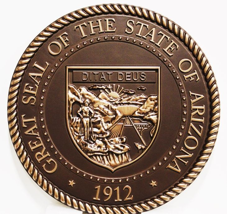 W32016 - Carved 3-D HDU Plaque of the Great Seal of the State of Arizona