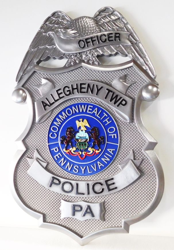 X33696 - Carved 3-D Aluminum-Plated Plaque of the Badgeof the Police Department of Allegheny Township in Pennsylvania