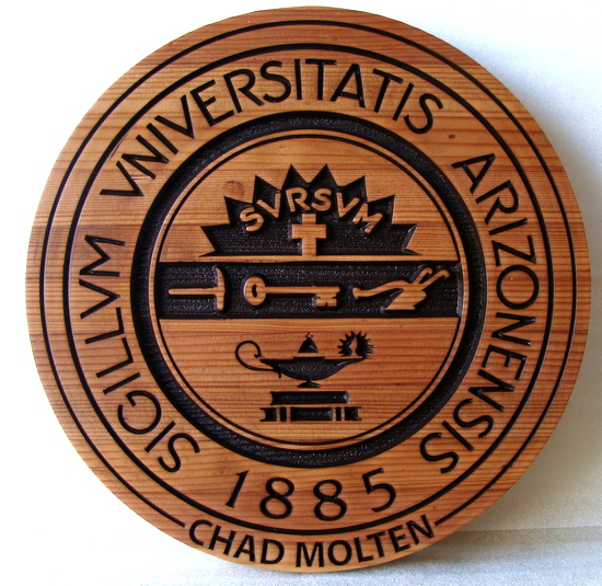 Y34324 - Carved 2.5D Cedar Wall Plaque of the Great Seal of the University of Arizona