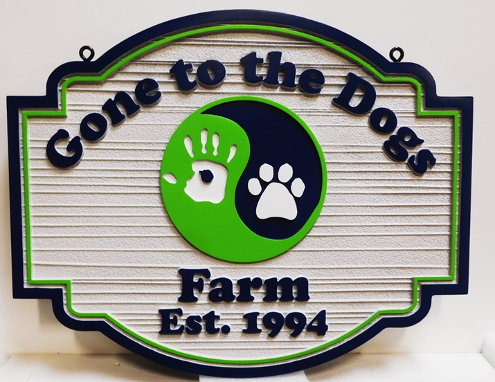 "O24515 - Carved and Sandblasted 2.5-D  Farm Name Sign ""Gone to the Dogs"" with Dog's Pawprint Engraved in Ying-Yang Symbol"
