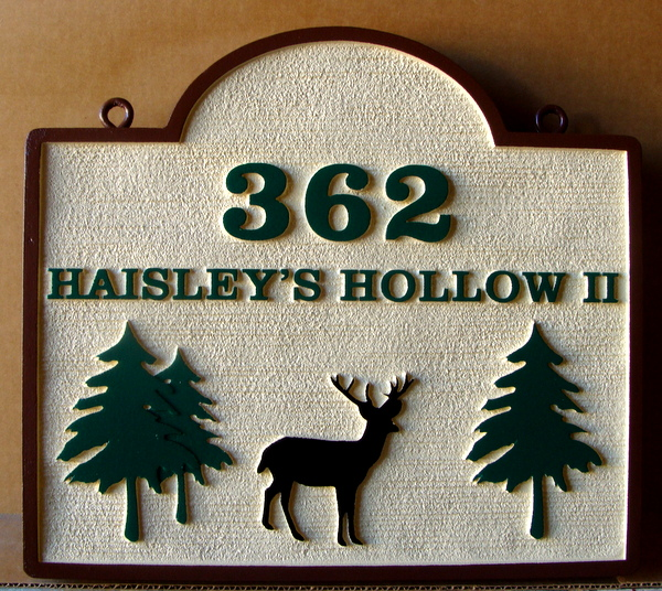 M22628 - Carved and Sandblasted Cabin Address Sign, with Deer and Trees