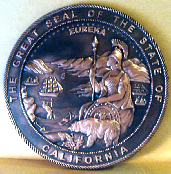 W32040 - 3-D Bas-Relief Copper Wall Plaque of the Seal of the State of California