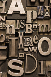 artfully arranged printing press letters