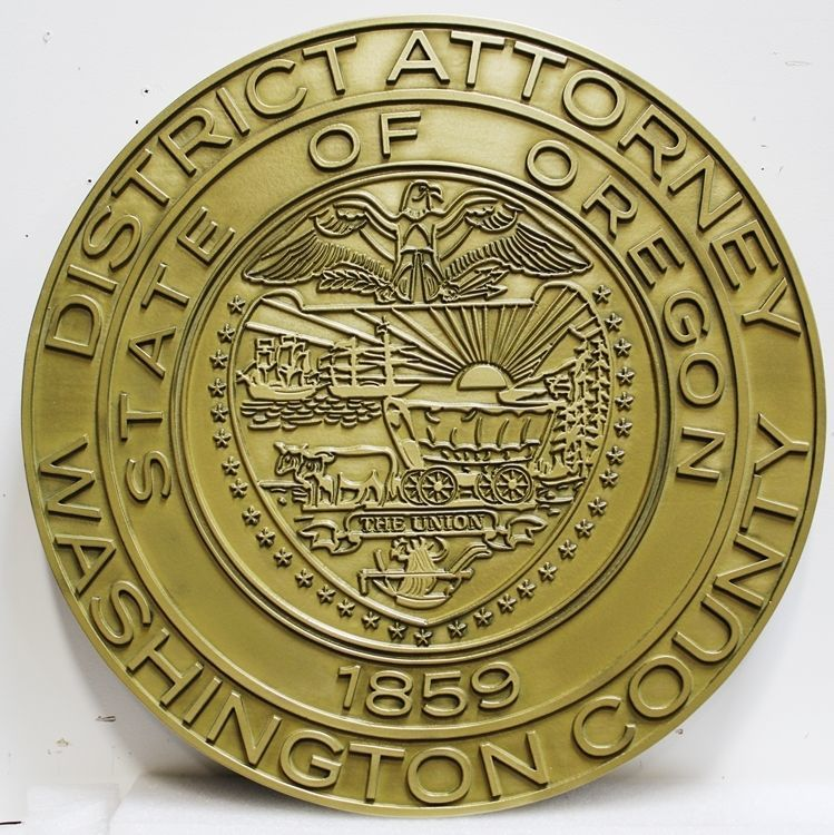 CP-1270 - Carved 2.5-D Brass-plated Plaque of the Seal of  the District Attorney of Washington  County, State of Oregon