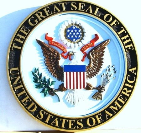N23772 - Full Color 3-D Carved HDU US Great Seal Wall Plaque, With  Border and Text