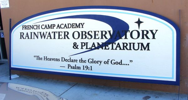 FA15582 - Carved Entrance  Sign for the Rainwater Observatory & Planetarium of the French Camp Academy, 2.5-D