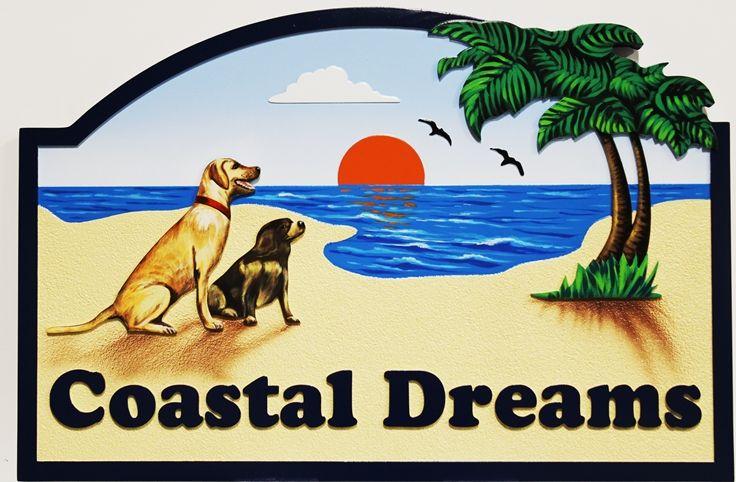 "I18611 -  Carved High-Density-Urethane (HDU) Beachfront Property Name sign ""Coastal Dreams"" FeaturingTwo Dogs on a Beach  as Artwork"