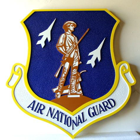 V31518A - Air National Guard Crest Carved on Wooden Wall Plaque (Version 2)