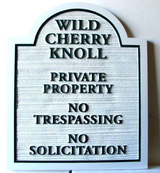 KA20753  - Sandblasted HDU Private Property and No Trespassing Sign
